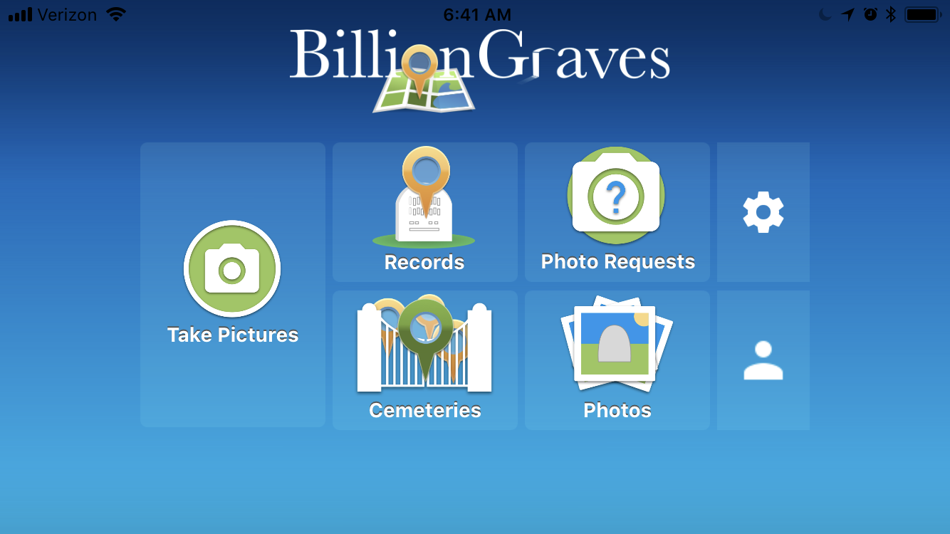 BillionGraves, phone screen, cell phone, BillionGraves app, cemetery, gravestones, BillionGraves