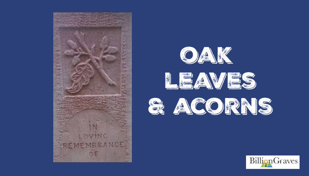 BillionGraves, oak leaves, acorns, cemetery symbolism, cemetery symbols, genealogy, BillionGraves
