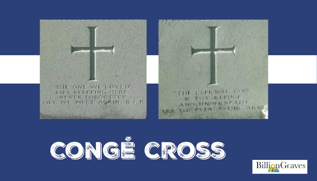 Congé Cross, BillionGraves, Latin cross, cemetery, cemetery cross, gravestone, Catholic, symbols, gravestones, grave, genealogy, ancestors, religion