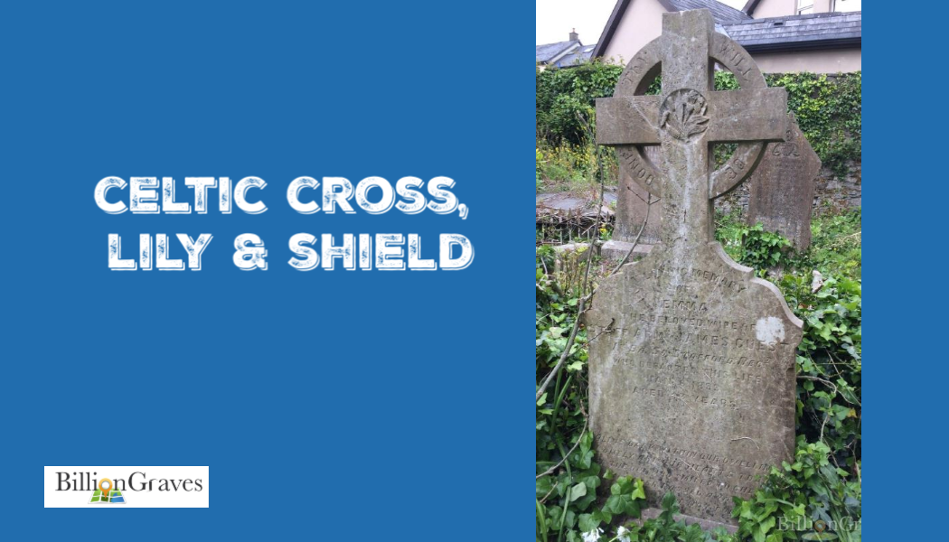 BillionGraves, grey stone, cemetery, Celtic Cross, Shield, Irish, Ireland, St. patrick, genealogy, BillionGraves
