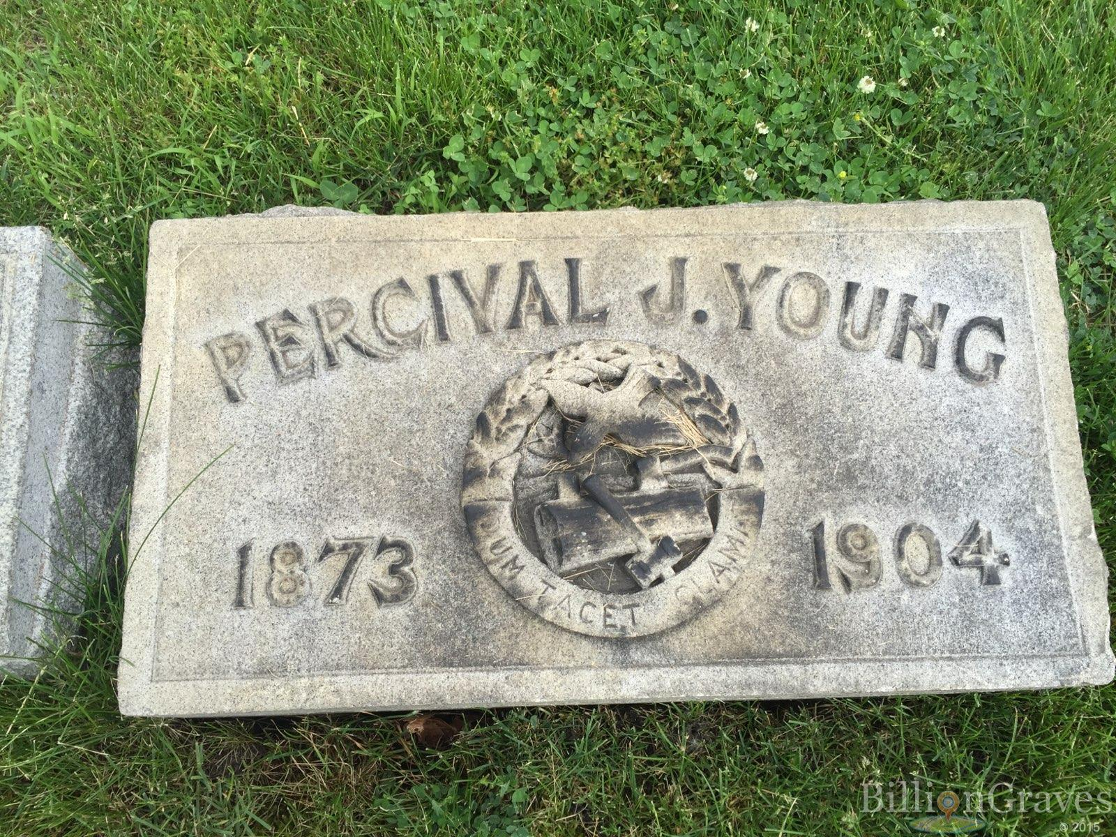 young, percival young, chicago cemetery, fraternity, club, society, cemetery, gravestone symbols, genealogy, BillionGraves, social organizations, flag holder, gravestone marker, BillionGraves