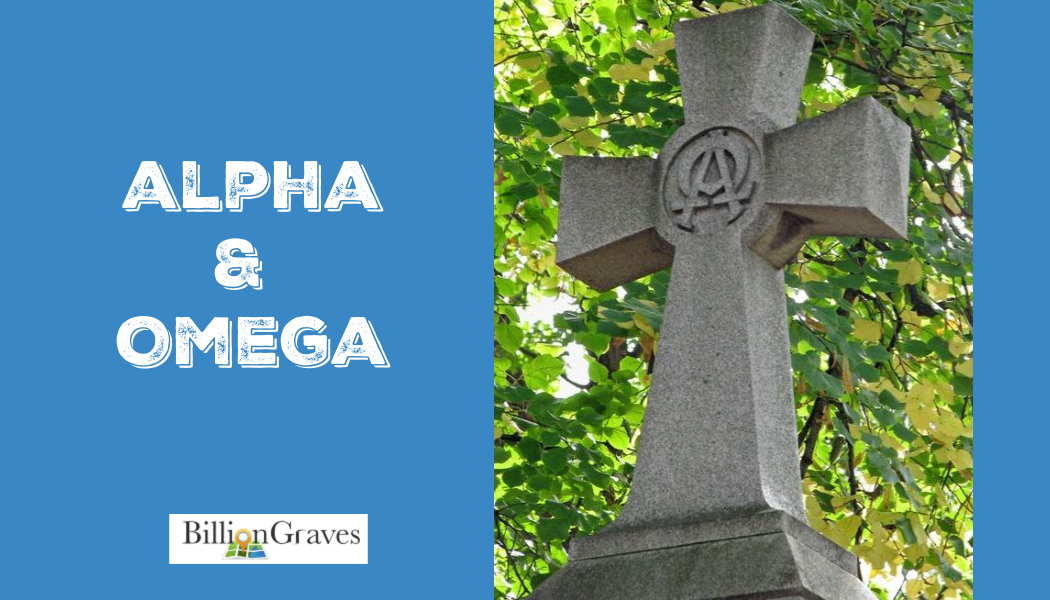 BillionGraves, Alpha and Omega, Catholic, gravestone, gravestone symbols, cemetery symbols,  graves symbols, cross, genealogy, ancestors, ancestry, Catholic cemetery