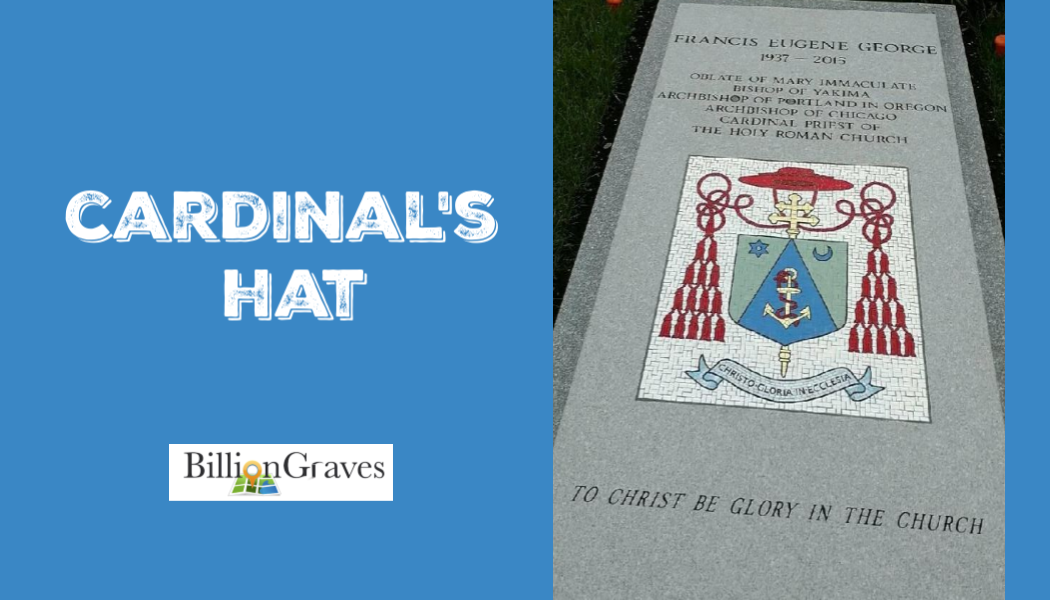BillionGraves, Catholic, gravestone, gravestone symbols, cemetery symbols,  graves symbols, cross, genealogy, ancestors, ancestry, Cardinal hat, Cardinal, pope, bishop, coat of arms, Catholic coat of arms, Cardinal coat of arms. Catholic cemetery