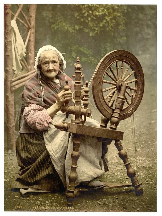 spinning wheel, peasant, cottage, spin wool, BillionGraves, Irish Famine, celtic cross, cemetery, genealogy, family history, ireland, St. Patrick's Day, Irish wake, Irish burial customs, family history, genealogy, ancestors