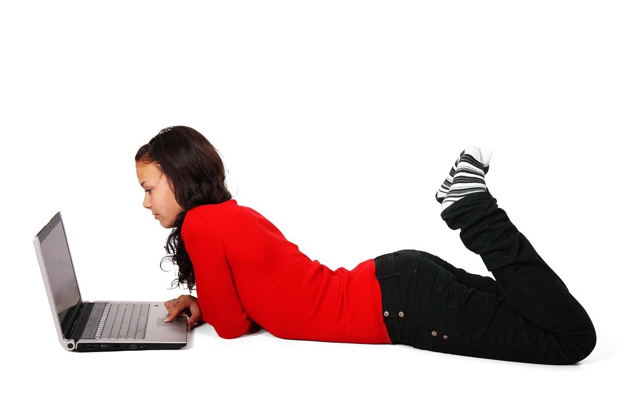 girl working on computer,BillionGraves, coronavirus, school closures, children, kids, genealogy, family history, ancestors, GPS